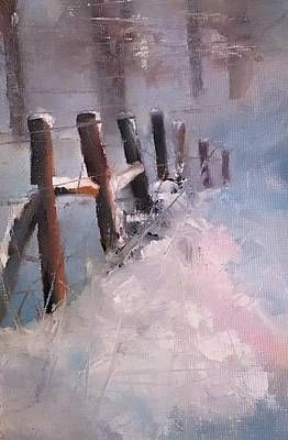 Painting - Snowy Fencerow Scene by Michele Carter