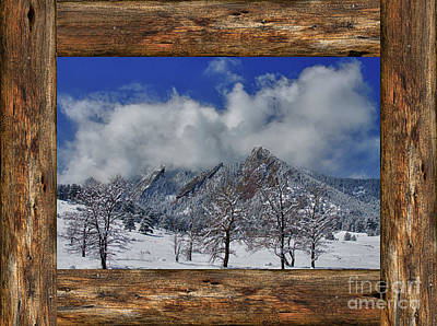 Photograph - Snowy Flatirons Boulder Colorado Rustic Cabin Window View by James BO Insogna