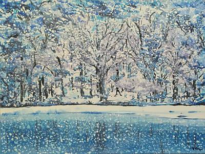 Lake Painting - Snowy Forest No.1 by Monika Arturi