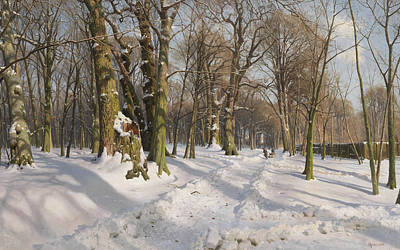 Painting - Snowy Forest Road In Sunlight by Peder Monsted