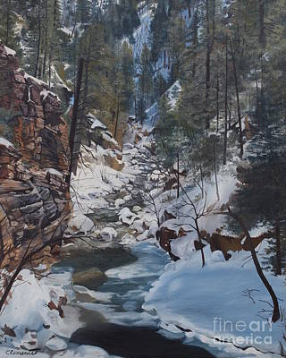 Painting - Snowy Forest Stream by Barbara Barber