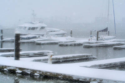 Snowy Harbor Art Print