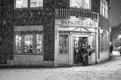 Photograph - Snowy Harvard Square Night Border Cafe Black And White by Toby McGuire