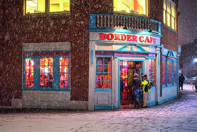Photograph - Snowy Harvard Square Night Border Cafe by Toby McGuire