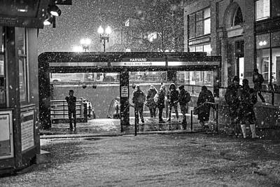 Snowy Harvard Square Night- Harvard T Station Black And White Art Print