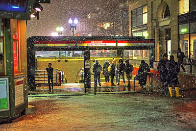 Snowy Harvard Square Night- Harvard T Station Art Print by Toby McGuire