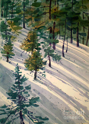Snow Drifts Painting - Snowy Hillside by Donald Maier