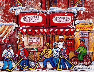 Painting - Snowy Hockey Game Schwartz's Deli Montreal Landmarks Winterscene Paintings For Sale C Spandau Artist by Carole Spandau