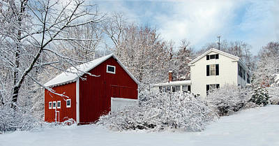 Photograph - Snowy Homestead With Red Barn by Betty Denise