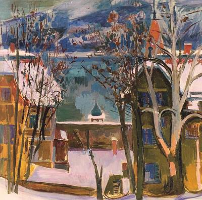 Snow Covered Mountains Painting - Snowy Houses At Worthersee by Mountain Dreams