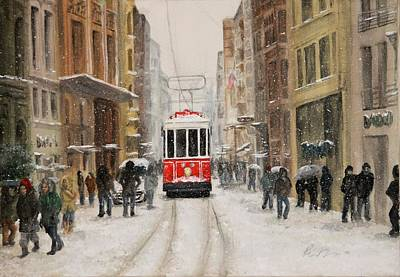 Tram Red Painting - Snowy Istiklal by Rebecca Davis