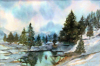 Snowscape Painting - Snowy Lake Reflections by Debbie Lewis