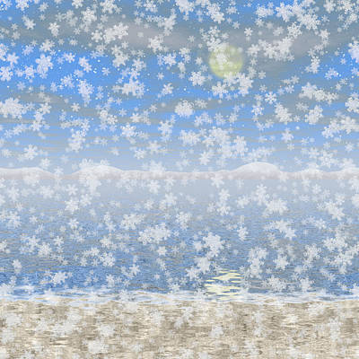 Snowy Landscape Generated Hires Background Art Print