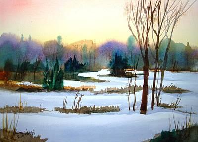 Snowy Landscape Scene Art Print by Larry Hamilton