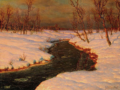 Painting - Snowy Landscape With A River At Sunset By Ivan Fedorovich Choultse by Ivan Fedorovich Choultse