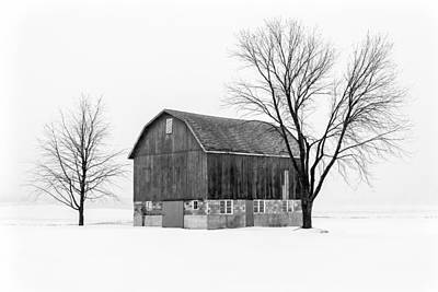 White Barn Photograph - Snowy Little Barn by Todd Klassy