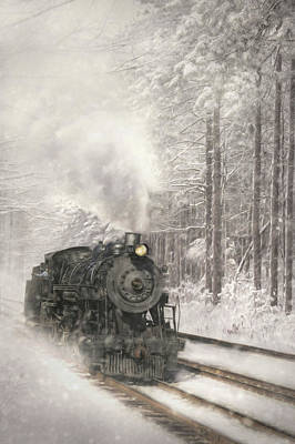 Digital Art - Snowy Locomotive by Lori Deiter