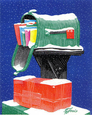 Mail Box Drawing - Snowy Mailbox Collage by Jim Harris