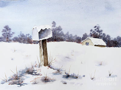 Painting - Snowy Mailbox by Pattie Calfy