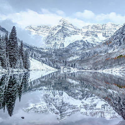 Photograph - Snowy Maroon Bells - Aspen Colorado 1x1 by Gregory Ballos