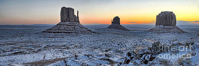 Photograph - Snowy Mittens - Monument Valley  by Peter Dang