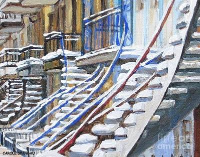 Verdun Connections Painting - Snowy Montreal Painting Winter City Scene Iconic Winding Staircases Canadian Street Carole Spandau by Carole Spandau