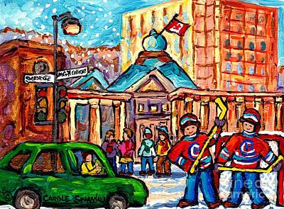 Street Hockey Painting - Snowy Montreal Winter Scene Mcgill Roddick Gates Hockey Game Canadian Painting Carole Spandau        by Carole Spandau