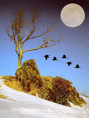 Painting - Snowy Moonrise In The Blue Ridge Ap by Dan Carmichael