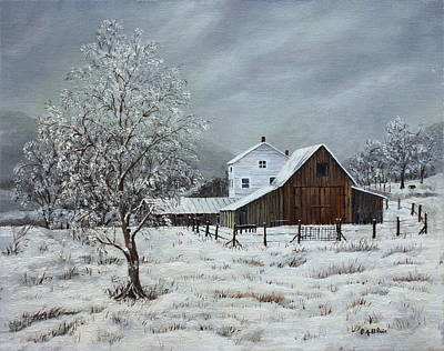 Painting - Snowy Morning On The Farm by B J Blair