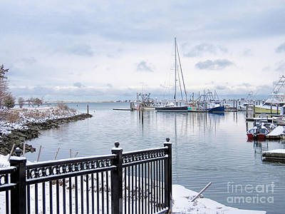 Photograph - Snowy Morning Plymouth Harbor  by Janice Drew