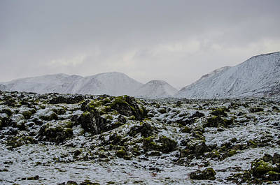 Photograph - Snowy Moss And Mountains Iceland by Deborah Smolinske