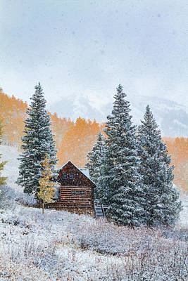 Photograph - Snowy Mountain Cabin by Teri Virbickis