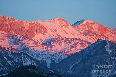 Snowy Mountain Range With A Rosy Hue At Sunset Art Print by Sami Sarkis