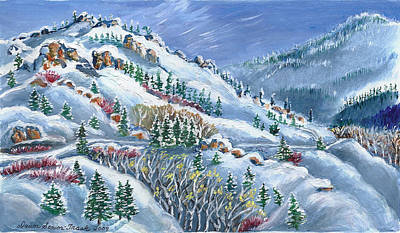 Snowy Mountain Road Art Print