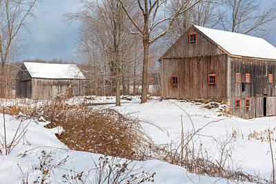 Photograph - Snowy New England Barns 2016 by Bill Wakeley