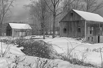 Snowy New England Barns 2016 Bw Art Print