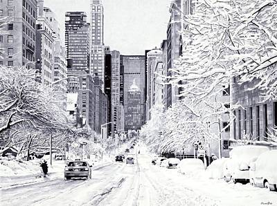 Graphics Painting - Snowy New York by Andrey Poletaev