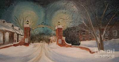 Snowy Night At Keene State College Original by Tina Siart Boylan