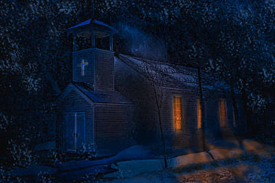 Digital Art - Snowy Night At The Church At Silver Plume by J Griff Griffin