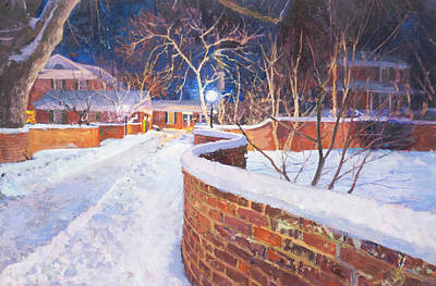 Uva Painting - Snowy Night At The Serpentine Wall by Edward Thomas