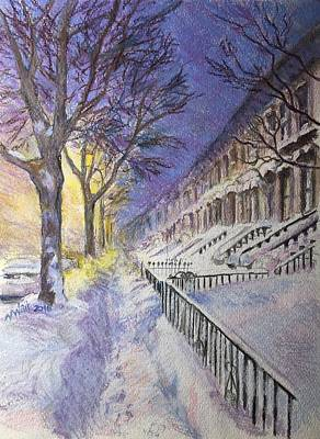 Painting - Snowy Night Brooklyn by Nancy Wait