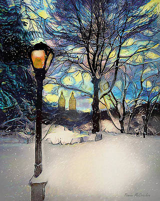 Digital Art - Snowy Night In New York by Pennie McCracken