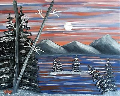 Snowy Night Painting - Snowy Night by Janice Kaye