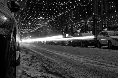 Snowy Night Light Trails Art Print