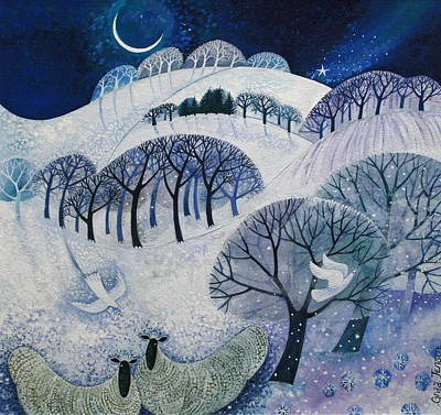 Birds In Snow Wall Art - Painting - Snowy Night  by Lisa Graa Jensen