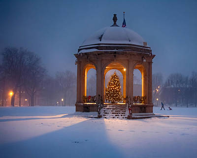 Snowy Night On The Salem Common Art Print