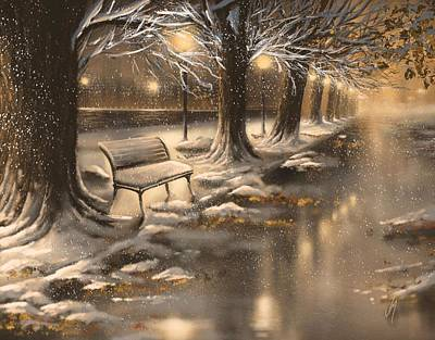 Winter Night Painting - Snowy Night by Veronica Minozzi