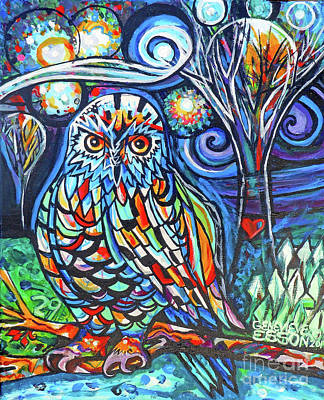 Painting - Snowy Owl Abstract With Moon by Genevieve Esson