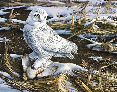 Painting - Snowy Owl And Hungarian Partridge by Larry Seiler