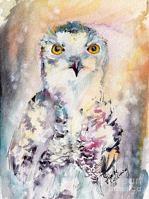 Painting - Snowy Owl Birds Of Prey Watercolor by Ginette Callaway